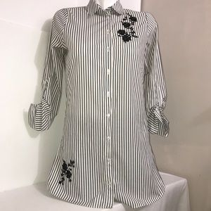 Primark Grey&White Striped Floral ButtonShirtDress